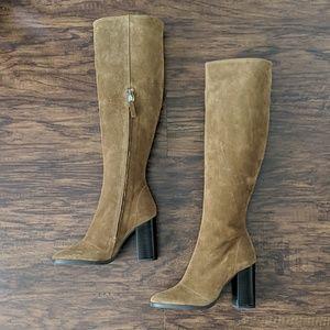 NWOB Zara Brown Genuine Leather Knee High Boots